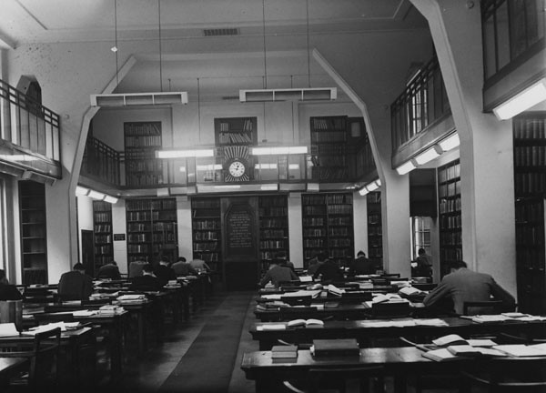 A 1950s image of a library reading room at LSE